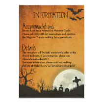 Halloween enclosure card for wedding in orange