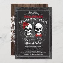 Halloween engagement party invitation. Black red Invitation