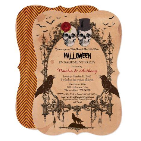 Halloween engagement party invitation. Rustic Invitation