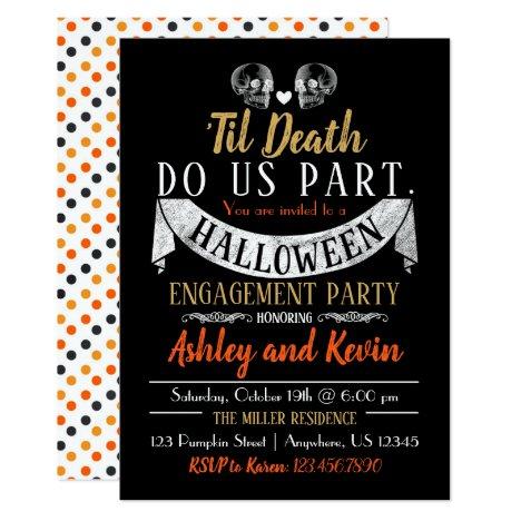 Halloween Engagement Party Invitation Skulls