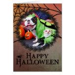 Halloween English Bulldog Spike - Chihuahua Gizmo Greeting Card