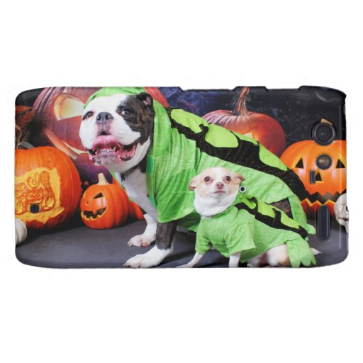 Halloween  English Bulldog Spike - Chihuahua Gizmo Motorola Droid RAZR Covers