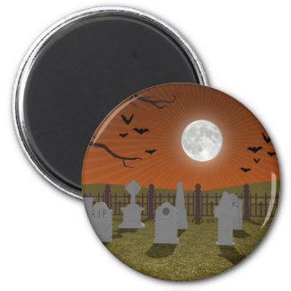 Halloween: Escena del cementerio: Imán Redondo 5 Cm