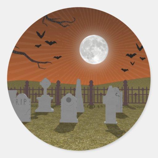 Halloween: Escena del cementerio: Pegatina Redonda