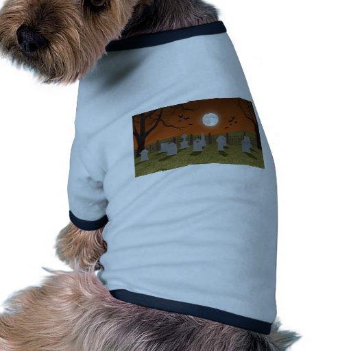 Halloween: Escena del cementerio: Camiseta Con Mangas Para Perro