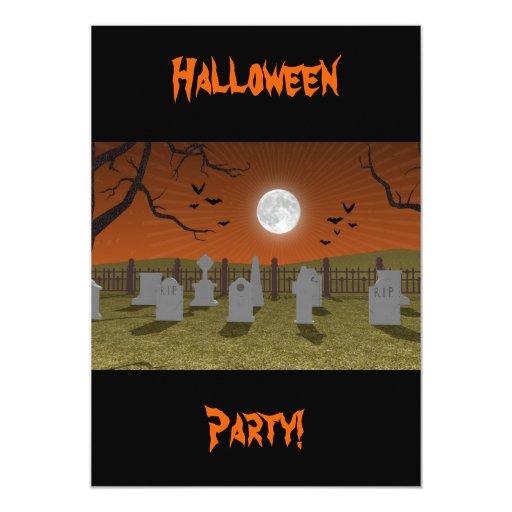 """Halloween: Escena del cementerio: Tarjeta de la Invitación 5"""" X 7"""""""