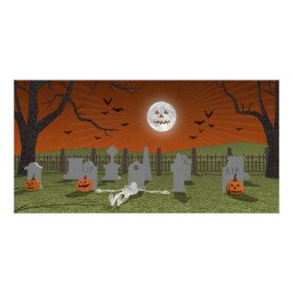 Halloween: Escena del cementerio: Tarjetas Personales Con Fotos