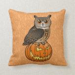 Halloween Eurasian Eagle Owl Throw Pillows