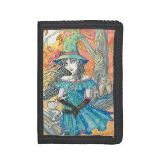 Halloween Eve Witch Owls Cat Fantasy Art Tri-fold Wallet