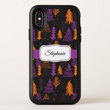 Halloween Evergreen Trees Pattern Black Orange OtterBox Symmetry iPhone X Case