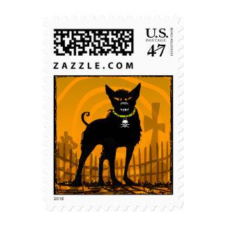 Halloween Evil Dog in Graveyard - Orange Postage