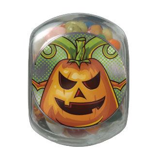 Halloween Evil Scary Pumpkin #2 Glass Jar