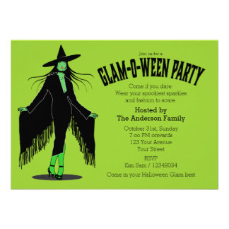 Halloween Evil Witch Glam Party Announcements