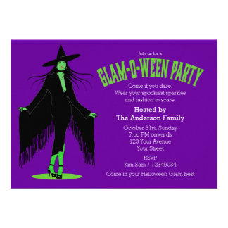 Halloween Evil Witch Glam Party Custom Invites