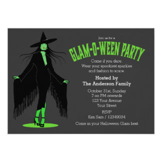 Halloween Evil Witch Glam Party Personalized Invitation