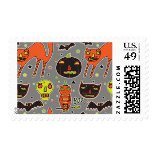 Halloween Faceoff Postage Stamps
