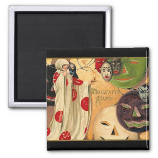 Halloween Faces - Art Deco 2 Inch Square Magnet