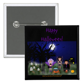 Halloween Faeries and Dracula Boy Pinback Buttons