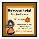 "Halloween Fairy Invitation 5.25"" Square Invitation Card"