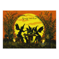 Halloween fairy witches invitations