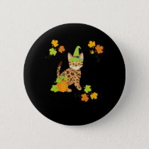 Halloween Fall Autumn Gift Cat Lovers Cute Witch Button
