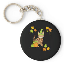 Halloween Fall Autumn Gift Cat Lovers Cute Witch Keychain