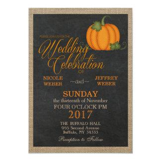 Halloween Fall Autumn Pumpkin Country Barn Wedding Invitation