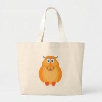 Halloween Fall Color Owl Illustration Large Tote Bag
