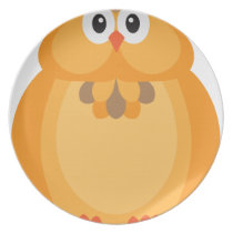 Halloween Fall Color Owl Illustration Melamine Plate