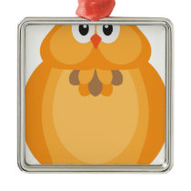 Halloween Fall Color Owl Illustration Metal Ornament