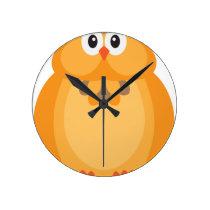 Halloween Fall Color Owl Illustration Round Clock