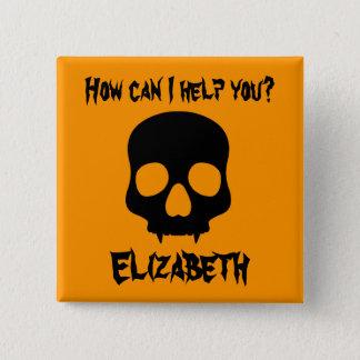 Halloween fanged skull button