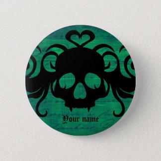 Halloween fanged skull pinback button