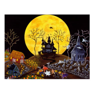 Halloween, fantasmas, iglesia, piedras sepulcrales postales