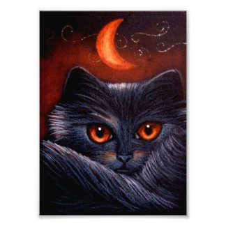 HALLOWEEN FANTASY BLACK CAT & ORANGE MOON PRINT