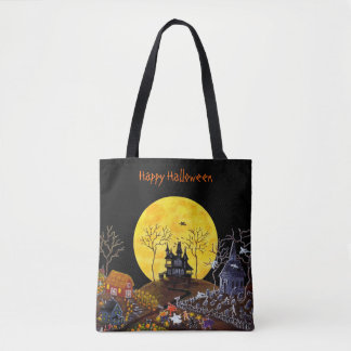 Halloween fashion tote,haunted,town tote bag