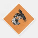 halloween fashonillustration with ravens paper dinner napkin
