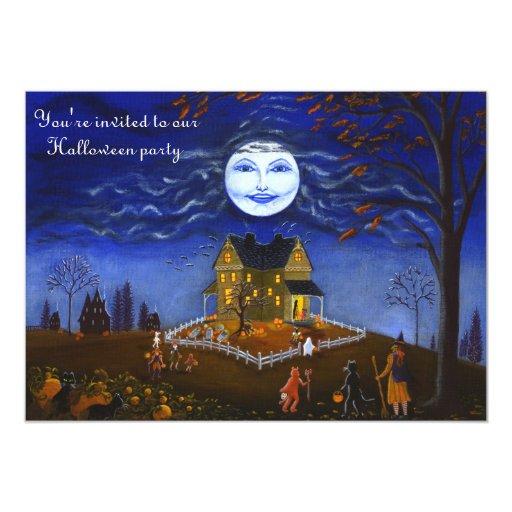 Halloween, fiesta, invitación, bruja, luna,