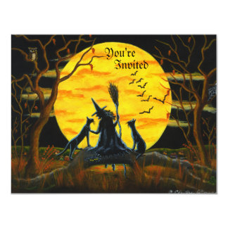 "Halloween, fiesta, invitación, bruja, negro, gatos invitación 4.25"" x 5.5"""
