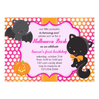 Halloween First Birthday Little Bat Cat Pumpkin Invites