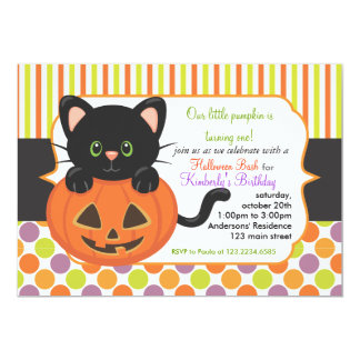 Halloween First Birthday Party Cute Pumpkin Cat Card