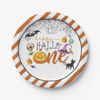 Halloween First Birthday Party Plate