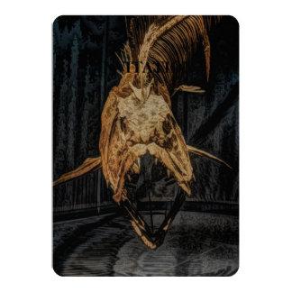 Halloween fishing skeleton sea monster fish bone card