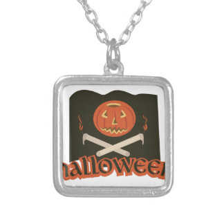 Halloween Flag Silver Plated Necklace