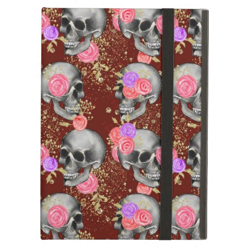 Halloween Floral Roses Scary Creepy Skull Glitter Case For iPad Air
