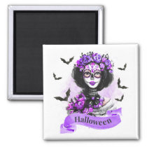 Halloween Floral Watercolor Lady Magnet