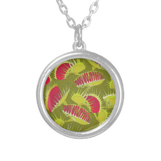 halloween fly trap silver plated necklace