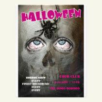 Halloween flyer poster skull