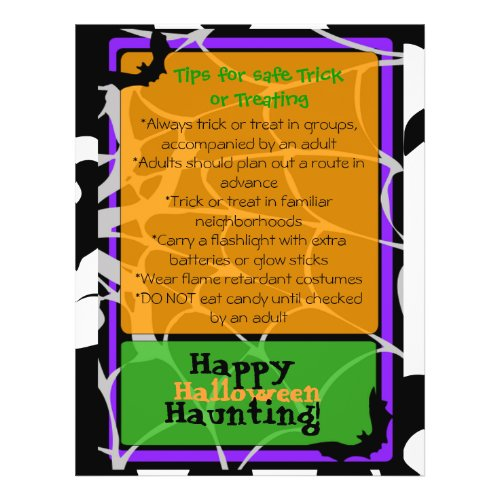 Halloween Flyer with Trick or Treat safety tips flyer