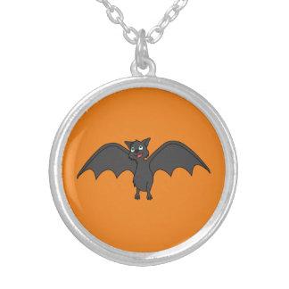 Halloween Flying Bat in Black Round Pendant Necklace